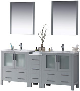 Blossom Sydney 72 Inches Double Sink Bathroom Vanity Side Cabinet Ceramic Sin