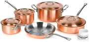 Mauviel 2.5mm Brushed Copper Cookware Set 9 Piece - Made In France - Stainless