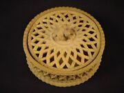 """Extremely Rare Davenport 4 ½"""" Round Game Dish Cane Caneware Yellow Ware Mint"""
