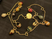 Joan Rivers Imperial Faberge 12 Charm 10 Egg Enamel Necklace Heart 1995 Coin +