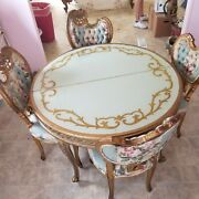 Antique Gold Gild Dining Table And Four Chairs