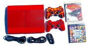 🔥sony Playstation 3 Ps3 Super Slim God Of War Edition Real Sony Controller Red