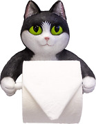 Dwk Wall Hanging Black And White Tuxedo Cat Decorative Toliet Paper Holder   For