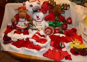 Christmas Theme Build A Bear Lot Frosty, Mr +mrs Moose + Outfits