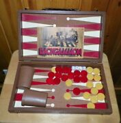 Vintage 1973 Pacific Game Co Red And Butterscotch Bakelite Backgammon Chips Game