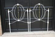 Antique Iron And Brass French Farmhouse White Twin Headboards - A Pair