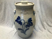 Vintage Rowe Pottery Works Cambridge, Wi, Floral Butter Churn With Lid