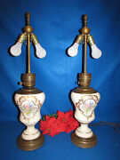 Antique Porcelain And Brass Gold And Flowers Kerosene Oil Lamps Electrified 30 1/2
