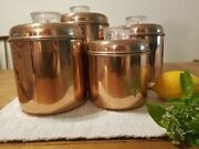Antique Set Of 4 Revere Ware 1801 Vintage Solid Copper Food Canisters Nesting