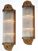 Pair Antique Vintage Old Art Deco Brass And Glass Rod Ship Light Wall Sconces Lamp