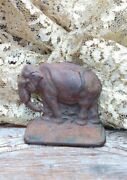 Antique Cast Iron Elephant Door Stop With Nice Patina Approx 6 Long Very Nice