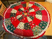 Vintage Handmade Patchwork Quilt Country Ruffled Christmas Tree Skirt 48