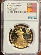 1986-w 1oz. American Gold Eagle 50 Ngc Pf70 Ultra Cameo Reagan Label Excellent