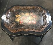 Antique Napoleon Iii Tray Table With Mother Of Pearl Inlay