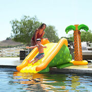 Northlight Green Yellow Inflatable Palm Tree Pool Side Slide A Sprinkler, 101es