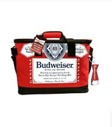 Brand New Budweiser Soft Cooler With Bottle Opener Keychain Red . Holds 30 Cans
