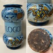 Antique Hand Painted Faience Apothecary Medicine Jar Hier Logod N Comp As Is