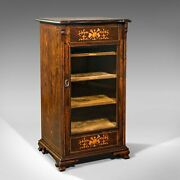 Antique Music Cabinet English Rosewood Display Case Inlay Victorian C.1870