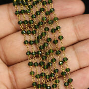 300 Feet Chrome Diopside Hydro Beads 3-4mm Rosary Beaded Chain 24k Gold Plated