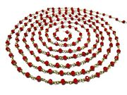 300 Feet Red Coral Hydro 3-4mm Rosary Beaded Chain 24k Gold Plated Wire Wrapped