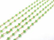 300 Feet Peridot Hydro Rondelle 3-4mm Rosary Beaded Chain 24k Gold Plated Wire