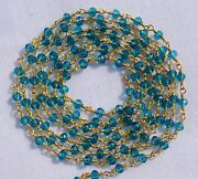 300 Feet London Blue Topaz Hydro 3-4mm Rosary Beaded Chain 24k Gold Plated Wire