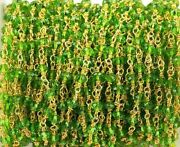 300 Feet Peridot Hydro Rondelle Rosary Chain 3-4mm 24k Gold Plated Wire Wrapped
