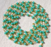 300 Feet Aqua Apatite Hydro 3-4mm Rosary Beaded Chain 24k Gold Plated Wrapped