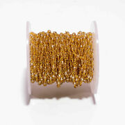 300 Feet Champion Hydro Rondelle Rosary Chain 3-4mm 24k Gold Plated Wire Wrapped