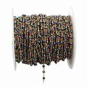 300 Feet Blue Mystic Hydro Rondelle 3-4mm Rosary Beaded Chain 24k Gold Plated