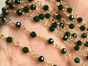 300 Feet Emerald Hydro Rondelle Rosary Chain 3-4mm 24k Gold Plated Wire Wrapped