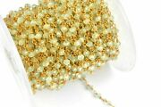 300 Feet Prehnite Hydro Rondelle 3-4mm Beads Rosary Beaded Chain 24k Gold Wire