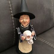Rare Vintage Poliwoggs Witch Holding Skull