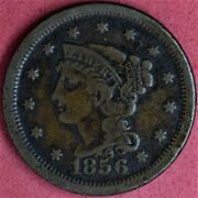 1856 Braided Hair Large Cent Upright 5 F