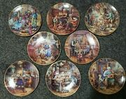 Weimar Porcelain Plates Set Of 8x Andldquovisiting The Grandparentsandrdquo Theme And 9th Extra