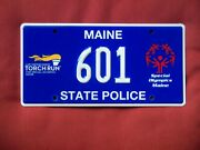 Maine State Police License Plate Torch Run Special Olympics Signed By Trooper