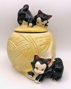 Vintage American Bisque Pottery Disney Figaro Cat On Yellow Yarn Ball Cookie Jar