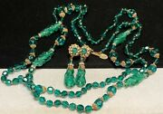 Miriam Haskell Set Rare Vintage Signed Green Glass R/s Opera Necklace Earrings