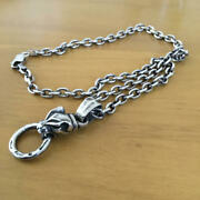 Used Bill Wall Leather Panther Pendant Mens Necklace Accessories Silver