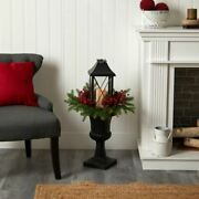Multicolor 33 Holiday Greenery, Berries And Pinecones In Decorative Urn With La