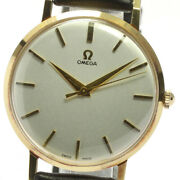 Wrist Watch Omega Antique Menand039s Analog Gold Black Hand Winding Swiss Used