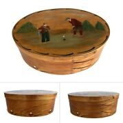 Shaker Oval Wood Maple Box 4 Finger Hand Painted Golf Theme 6.5 X 9.5 X 3.5
