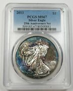 2011 Pcgs Ms67 Toned Mint State Silver Eagle Dollar 1 Us Coin Item 29023a