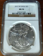 2012-w Ms 70 Burnished 1 American Silver Eagle, Ngc Brown Scales