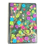 Hand Painted Notebook Travel Journal With Ribbon Bookmark Elastic Closure Black