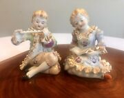 Vintage Figurines Meissen Style Bone China Lace Boy With Flute And Girl Singing
