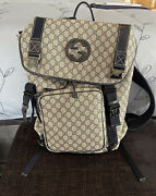 Interlocking Backpack Beige/navy Blue Canvas Large Drawstring Great Cond.