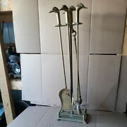 Vintage Brass Duck/goose Head Fireplace Tool Set 5 Piece 4 Tools And Stand