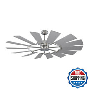 Prairie 52 In. Led Indoor/outdoor Brushed Steel Ceiling Fan With Dual Washed Oak