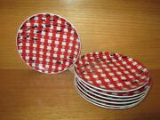 7 Pc Set Pier 1 Imports Red/white Gingham Check Ants Farm Picnic Snack Plates